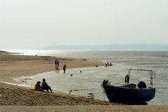 Nebbia in spiaggia Immagine Stock