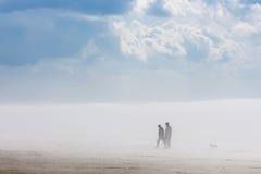 Nebbia sul fiume siberiano Ob' Fotografia Stock