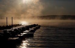 Nebbia sul lago Fotografia Stock Libera da Diritti