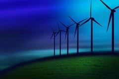 Nebbia sulle turbine Fotografie Stock Libere da Diritti