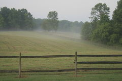 Nebel auf dem Bauernhof Stockfotos