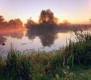 Nebel auf dem Fluss Lizenzfreie Stockbilder