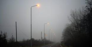 Nebel auf der Straße Stockfotos