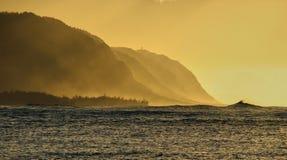 Nebel auf einem Sonnenuntergang lizenzfreies stockfoto