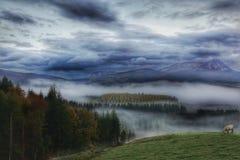 Nebel bedeckte Tal und Berge Stockfoto