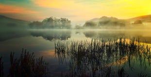 Nebel, der am See steigt stockfotografie