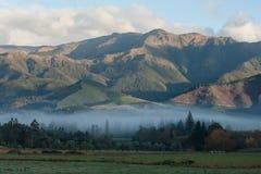 Nebel des frühen Morgens über Hanmer-Frühlingen Lizenzfreie Stockfotos