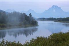 Nebel des frühen Morgens über Snake River, Nationalpark Teton, Wyomin Stockbild