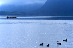Nebel des Hallstatt Sees morgens Lizenzfreies Stockbild