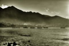 Nebel des Sonnenaufgangs Stockbild