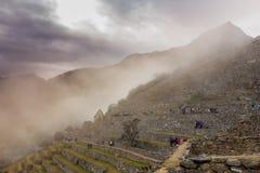 Nebel Machu Picchu morgens Lizenzfreie Stockfotografie
