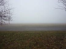 Nebel nahe der Straße Stockbilder
