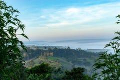 Nebel-und Sonne Morgen nach Berg lizenzfreie stockfotos