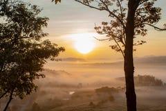 Nebel-und Sonne Morgen nach Berg lizenzfreies stockfoto