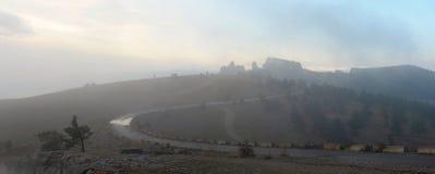 Nebel und Wolken morgens Stockfotografie
