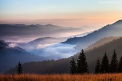 Nebel- und Wolkengebirgstallandschaft Stockfoto