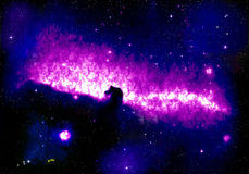 Nebelfleck-Pferden-Kopf mit Sternen Stockbilder