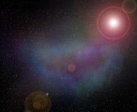 Nebelfleck und Blitz des Planeten im Raum Lizenzfreies Stockfoto