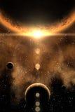 Nebelfleck und Planet stock abbildung