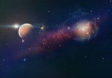 Nebelfleck und Planet Lizenzfreie Stockfotos
