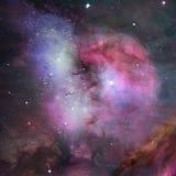 Nebelfleck und Sterne im Raum. lizenzfreie abbildung