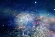 Nebelfleck und Sterne im Raum stock abbildung