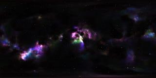 Nebelfleck und Sterne im Weltraum 360 Grad-Umwelt-Panorama Stockfotografie