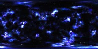 Nebelfleck und Sterne im Weltraum 360 Grad-Umwelt-Panorama Stockbilder