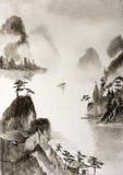 Nebelhafte Berge und ein Fluss und eine Hütte auf dem Felsen vektor abbildung