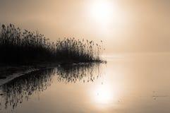 Nebelhafte Dämmerung auf dem Fluss Horizontale Ansicht Stockbild