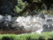 Nebelhafte Flussstromschnellenfahrt Stockfoto