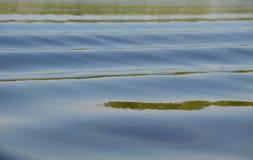 Nebelhafte idyllische Oberfläche des Sees mit leichten Wellen und der Reflexionen, die bunte Schatten herstellen Lizenzfreies Stockfoto