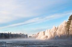 Nebelhafte Landschaft von Finnland Lizenzfreies Stockbild
