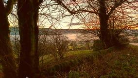 Nebelhafter Abend über Wolsingham Lizenzfreies Stockbild