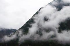 Nebelhafter Bergabhang Stockbild