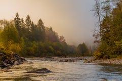 Nebelhafter Fluss in den Alpen lizenzfreies stockfoto