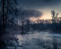 Nebelhafter Fluss im Winter Stockfotografie