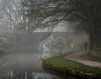 Nebelhafter früher Morgenspaziergang lizenzfreie stockfotografie