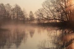 Nebelhafter Morgen über dem Fluss stockfoto