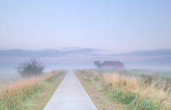 Nebelhafter Morgen auf niederländischem Ackerland Lizenzfreies Stockfoto