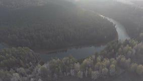 Nebelhafter Morgen in den Urals stock video footage
