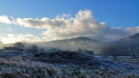 Nebelhafter Morgen im Seebezirk Stockbilder