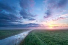 Nebelhafter Sonnenaufgang über Wiese und Fluss Lizenzfreie Stockfotografie