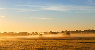 Nebelhafter Sonnenaufgang auf Ackerland Lizenzfreies Stockbild