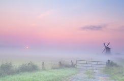 Nebelhafter Sonnenaufgang auf niederländischem Ackerland Stockfotos