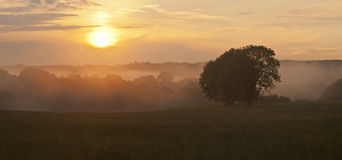 Nebelhafter Sonnenuntergang Lizenzfreie Stockbilder
