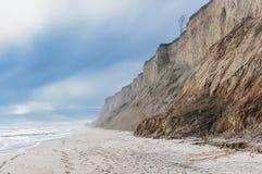 Nebelhafter Strand Stockfotos