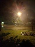 Nebelhaftes Nacht- und Straßenlaterne Stockbilder