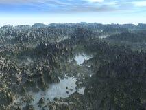 Nebelhaftes Tal Stockfoto