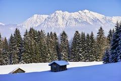 Nebelhorn山冬天风景 库存照片